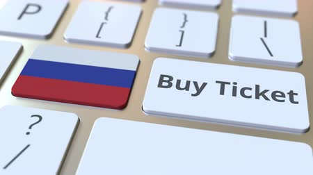 no exterior : BUY TICKET text and flag of Russia on the buttons on the computer keyboard. Travel related conceptual 3D animation