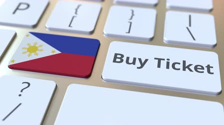 philippine : BUY TICKET text and flag of Philippines on the buttons on the computer keyboard. Travel related conceptual 3D animation