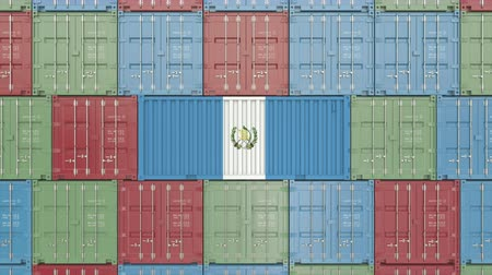 container terminal : Cargo container with flag of Guatemala. Guatemalan goods related conceptual 3D animation Stock Footage