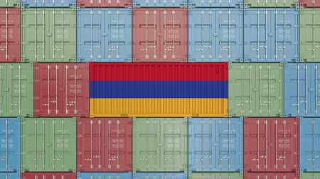 rakomány : Cargo container with flag of Armenia. Armenian goods related conceptual 3D animation Stock mozgókép