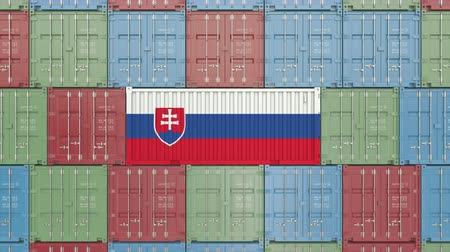 eksport : Cargo container with flag of Slovakia. Slovak goods related conceptual 3D animation