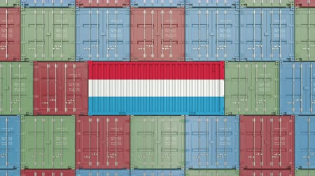 luxemburg : Container with flag of Luxembourg. Luxembourgian goods related conceptual 3D animation