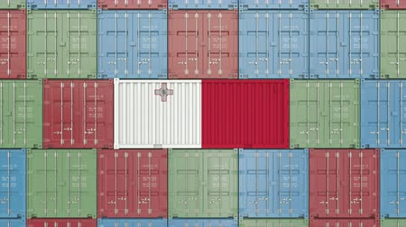 container terminal : Container with flag of Malta. Maltese goods related conceptual 3D animation