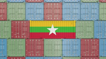 tara : Cargo container with flag of Myanmar. Myanma goods related conceptual 3D animation Archivo de Video