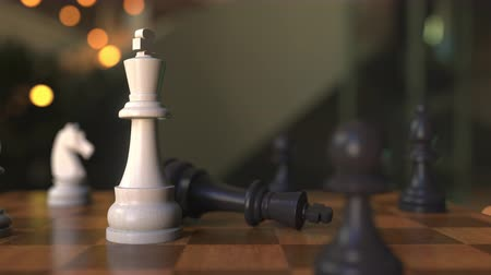 perdedor : Checkmate or mate in chess game. Chessboard close-up, 3D animation