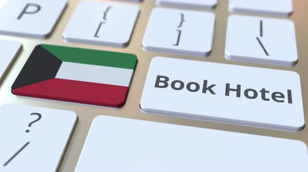 horeca : BOOK HOTEL text and flag of Kuwait on the buttons on the computer keyboard. Travel related conceptual 3D animation