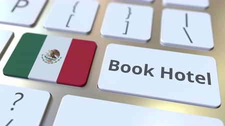 horeca : BOOK HOTEL text and flag of Mexico on the buttons on the computer keyboard. Travel related conceptual 3D animation Stock Footage