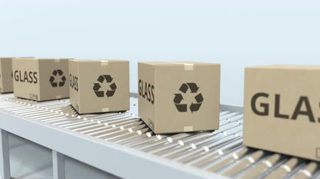 kézbesítés : Cartons with glass on roller conveyor. Loopable 3D animation Stock mozgókép
