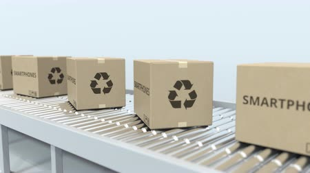 reciclado : Boxes with smartphones on roller conveyor. Loopable 3D animation