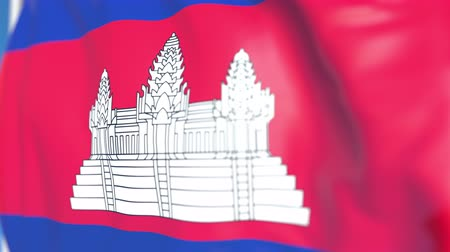 kamboçyalı : Flying national flag of Cambodia close-up, loopable 3D animation