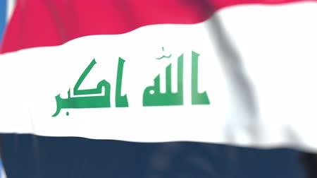 irak : Waving national flag of Iraq close-up, loopable 3D animation
