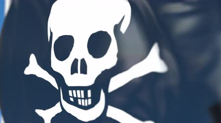 piraterie : Agitant le drapeau pirate Jolly Roger en gros plan, animation 3D en boucle