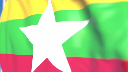 mianmar : Waving national flag of Myanmar close-up, loopable 3D animation