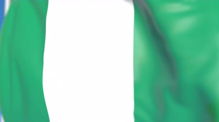 nigeria flag : Waving national flag of Nigeria close-up, loopable 3D animation