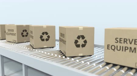 handling : Cartons with server equipment on roller conveyor. Loopable 3D animation
