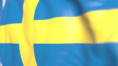 suédois : Flying national flag of Sweden close-up, loopable 3D animation