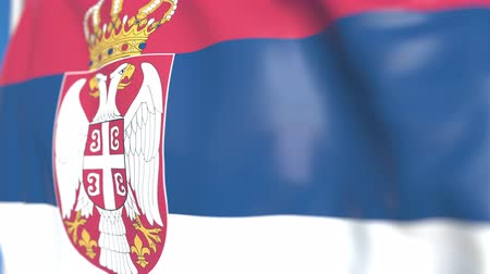 sérvia : Waving national flag of Serbia close-up, loopable 3D animation