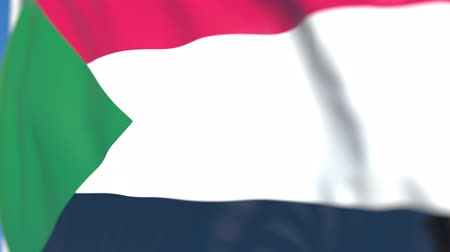 sudanian : Waving national flag of Sudan close-up, loopable 3D animation Stock Footage
