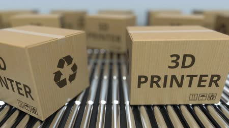 reciclado : Cartons with 3D printers on roller conveyors. Loopable 3D animation Stock Footage