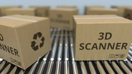 reciclado : Cartons with 3D scanners on roller conveyors. Loopable animation Stock Footage