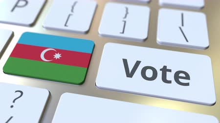 candidato : VOTE text and flag of Azerbaijan on the buttons on the computer keyboard. Election related conceptual 3D animation Vídeos