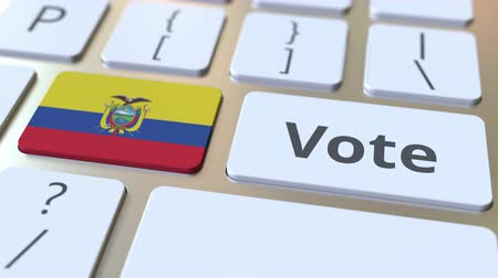 equador : VOTE text and flag of Ecuador on the buttons on the computer keyboard. Election related conceptual 3D animation Stock Footage