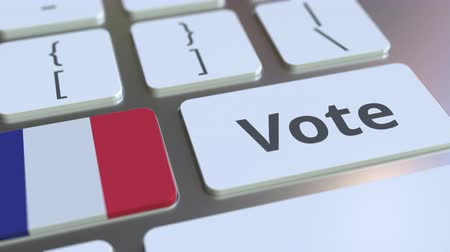poll : VOTE text and flag of France on the buttons on the computer keyboard. Election related conceptual 3D animation