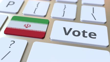 poll : VOTE text and flag of Iran on the buttons on the computer keyboard. Election related conceptual 3D animation