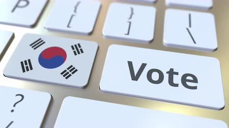 demokratický : VOTE text and flag of South Korea on the buttons on the computer keyboard. Election related conceptual 3D animation Dostupné videozáznamy