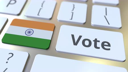 democrático : VOTE text and flag of India on the buttons on the computer keyboard. Election related conceptual 3D animation Stock Footage