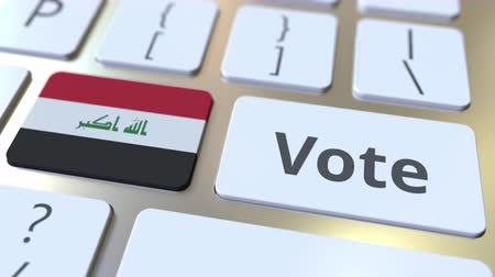 poll : VOTE text and flag of Iraq on the buttons on the computer keyboard. Election related conceptual 3D animation Stock Footage