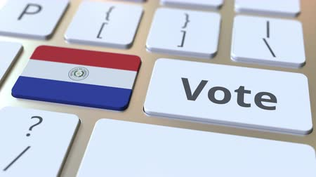 demokratický : VOTE text and flag of Paraguay on the buttons on the computer keyboard. Election related conceptual 3D animation