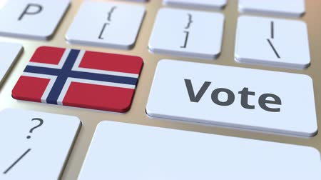 demokratický : VOTE text and flag of Norway on the buttons on the computer keyboard. Election related conceptual 3D animation