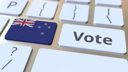 demokratický : VOTE text and flag of New Zealand on the buttons on the computer keyboard. Election related conceptual 3D animation
