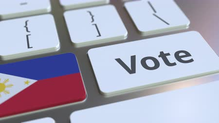 demokratický : VOTE text and flag of Philippines on the buttons on the computer keyboard. Election related conceptual 3D animation
