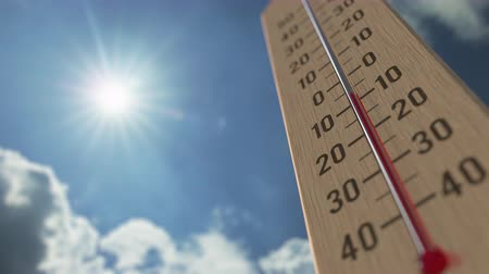 meteorological : Outdoor thermometer reaches 10 ten degrees centigrade. Weather forecast related 3D animation