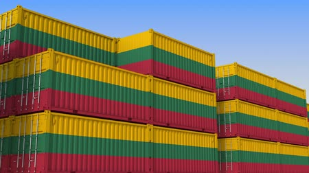 flag of lithuania : Container yard full of containers with flag of Lithuania. Lithuanian export or import related loopable 3D animation
