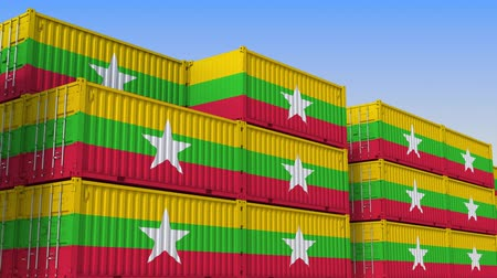 mianmar : Container yard full of containers with flag of Myanmar. Myanma export or import related loopable 3D animation