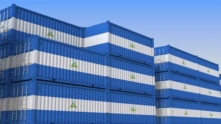 tengeri kikötő : Container terminal full of containers with flag of Nicaragua. Nicaraguan export or import related loopable 3D animation
