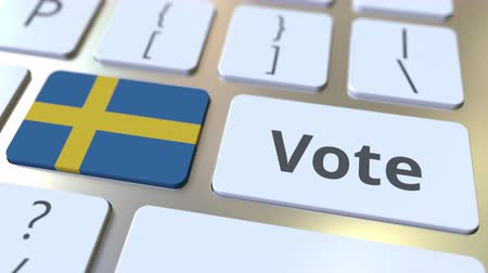 demokratický : VOTE text and flag of Sweden on the buttons on the computer keyboard. Election related conceptual 3D animation