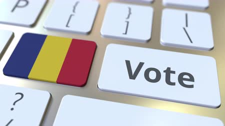 demokratický : VOTE text and flag of Romania on the buttons on the computer keyboard. Election related conceptual 3D animation