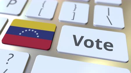 demokratický : VOTE text and flag of Venezuela on the buttons on the computer keyboard. Election related conceptual 3D animation Dostupné videozáznamy