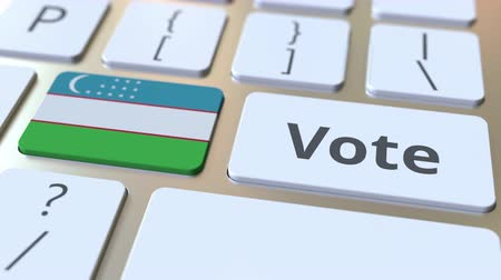 demokratický : VOTE text and flag of Uzbekistan on the buttons on the computer keyboard. Election related conceptual 3D animation