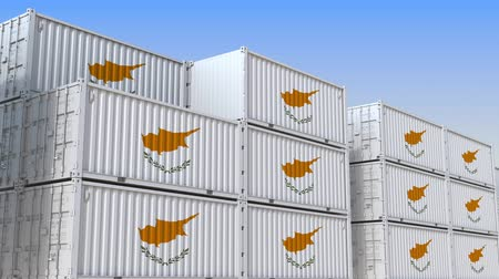 海港 : Container yard full of containers with flag of Cyprus. Cypriot export or import related loopable 3D animation