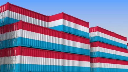 luxemburg : Container yard full of containers with flag of Luxembourg. Luxembourgian export or import related loopable 3D animation Stockvideo