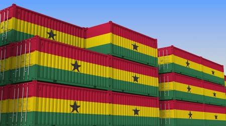 海港 : Container yard full of containers with flag of Ghana. Ghanaian export or import related loopable 3D animation 動画素材