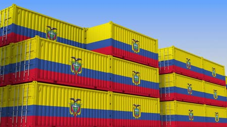 equador : Container yard full of containers with flag of Ecuador. Ecuadorian export or import related loopable 3D animation