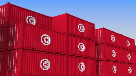 tunesie : Container terminal full of containers with flag of Tunisia. Tunisian export or import related loopable 3D animation