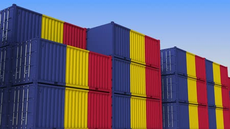 romeno : Container yard full of containers with flag of Romania. Romanian export or import related loopable 3D animation Stock Footage