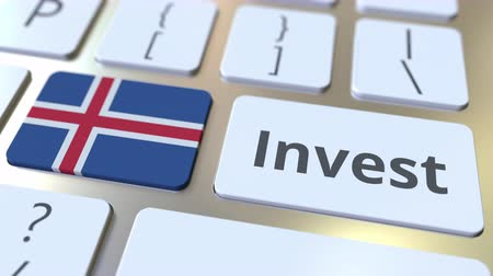 bens : INVEST text and flag of Iceland on the buttons on the computer keyboard. Business related conceptual 3D animation Stock Footage